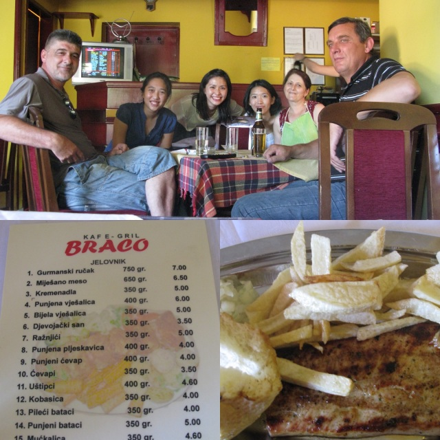 Surprisingly a delicious and friendly lunch stop at Braco, Jelovnik (on the way to Ostrog). The owners and locals were intrigued by us. They do not speak English but somehow we conversed well.