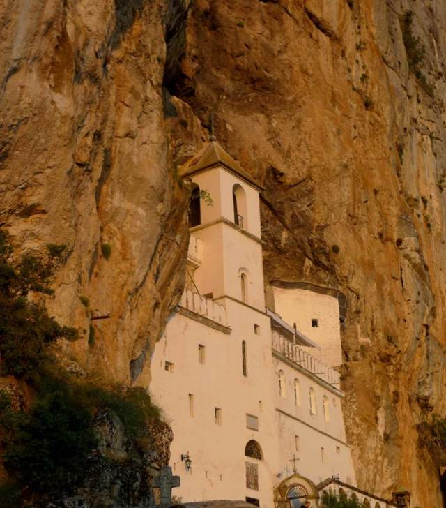 The cavelike monastery near sunset