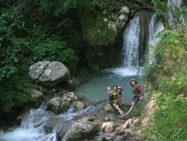 Our waterfall stop during Tara river raft